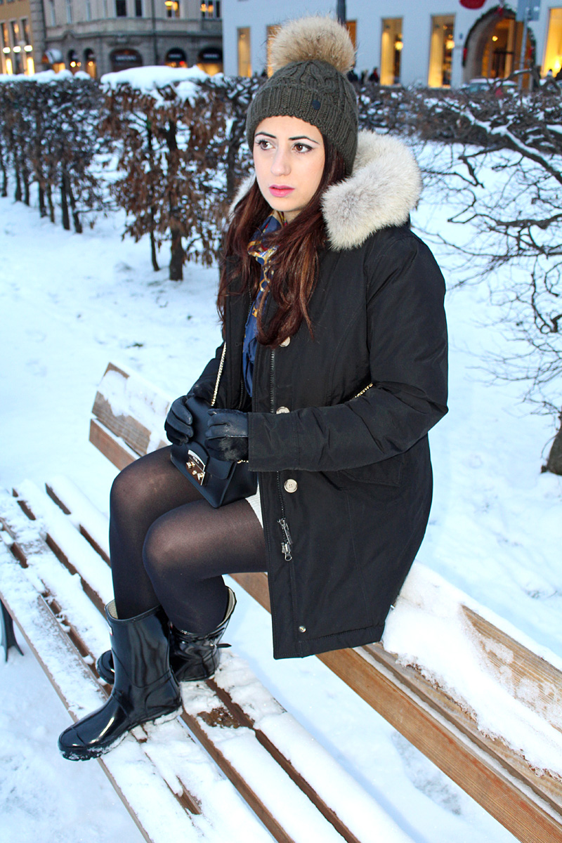Moments of Fashion, München, Fashion Blog, Chic in Winter, Woolrich, Hunter Boots, Zara, Bogner, Roeckl, Furla, Codello
